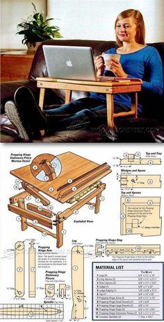 Laptop Desk Plans - Furniture Plans and Projects   WoodArchivist.com #woodworkingprojects
