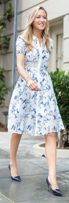 bird and flower print chiffon shirtdress + navy pointy toe pumps {erin fetherston, jimmy choo, boxfox}