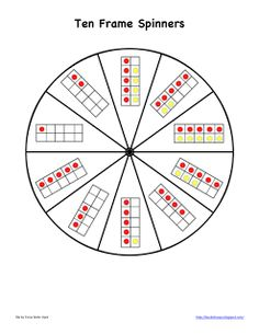 FREE ten frames spinners in 3 sizes at Bookish Ways in Math and Science