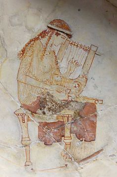 Fresco  --  'A Muse Tuning Two Lyres'  --  Detail from an Attic white-ground cup by the Hesiod Painter  --  470-460 BCE  --  From Eretria, Greece  --  Belonging to Les Louvre, Paris