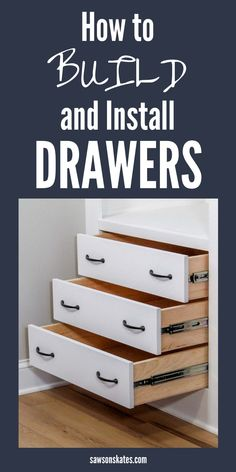 I never knew it was so easy to build drawers! This tutorial breaks down building a drawer step by step. And you don't need any complicated tools like a table saw or router. All you need is a miter saw, circular saw, and pocket hole jig. Even beginners can build a strong drawer box for a cabinet, closet, or DIY furniture! #sawsonskates Diy Furniture Plans Wood Projects, Cool Woodworking Projects, Woodworking Furniture, Diy Woodworking, Building Furniture, Furniture Ideas, Woodworking Workshop, Woodworking Supplies, Diy Furniture For Beginners