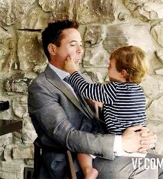 """Robert Downey Jr. playing with his 2-year-old son, Exton.  (Vanity Fair October 2014 cover shoot """"Behind the Scenes"""" video)"""