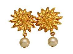 Vintage Chanel earrings CC logo lion pearl dangle