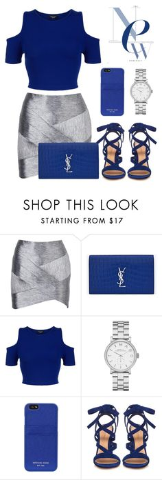 """Blue x Silver."" by denaexr ❤ liked on Polyvore featuring IRO, Yves Saint Laurent, New Look, Marc Jacobs, MICHAEL Michael Kors and Gianvito Rossi"