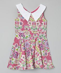 Look what I found on #zulily! Hot Pink Floral Collar Dress - Toddler & Girls by Kalliope #zulilyfinds