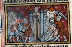 Soldat mit Buckler, Dijon BM MS.526 Recueil litteraire, fol. 6r, 1300, Frankreich.