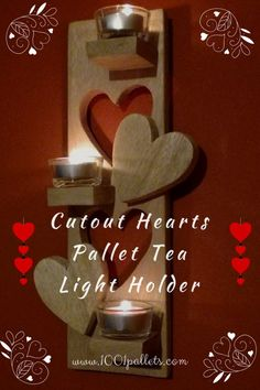 Oak pallet wood deserves to be shown off and not hidden, lets light it up.  #HomeDécor, #PalletCandleHolder, #PalletTeaLightHolder, #PalletWallArt, #TeaLightHolder