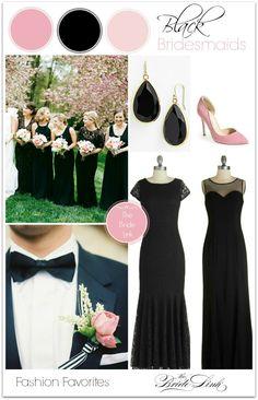 Mismatched Black Bridesmaid Dresses