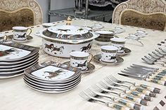 Royal Porcelain Greek Key Horse Cheval 75-pc Large Dinner and Sushi set, Service for 6, Vintage Luxury dinnerware banquet set in a case