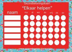 Gezinsbeloningskaart, elkaar helpen. Op de website vind je nog meer gezinsbeloningskaarten... bv voor huishoudelijke taken!