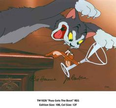 """Autographed animation cel from the very first Tom and Jerry cartoon entitled """"Puss Gets the Boot"""" (1940.)"""
