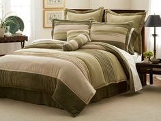 """Peyton Place Comforter Set with 4 Bonus Pieces, Queen by PemAmerica. $119.99. Filled with 100% Hypoallergenic Polyester. 1 Queen comforter 86""""x86"""" with two standard shams (20x26 inches), bed skirt to fit mattress 60""""x80"""". Dry Clean Only. Made in China.. Classic stripe and pleated pattern in micro suede in shades of green.. 4 BONUS PILLOWS: 2 16x16 inch and 2 12x16 inch.. Peyton Place Queen Comforter Set with 4 Bonus Pieces features: Classic stripe and pleated pattern in micro..."""