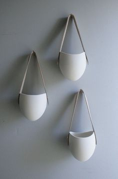 porcelain and leather hanging planter