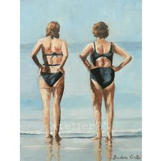 two women wearing swimsuits looking out to sea giclee door atelier28, $25.00