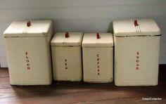 Kraemer vintage canisters with Bakelite handles