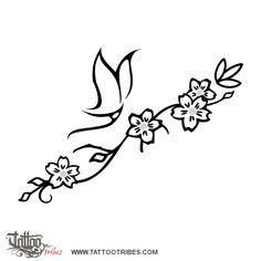 Fiori di ciliegio e farfalla stilizzata