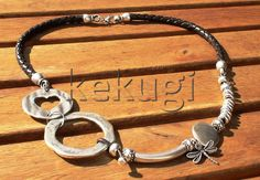 women abstract braided brown leather necklace with by kekugi