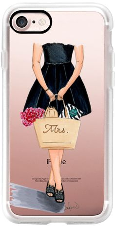 Casetify iPhone 7 Classic Grip Case - Kate Spade inspired fashion illustration, Mrs. bride  by the pretty pink studio #Casetify