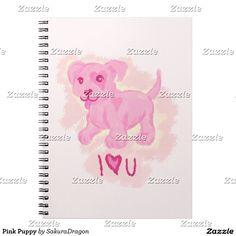 Pink Puppy Spiral Notebook #dogs #puppy #pink #valentine #love
