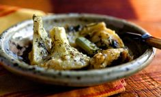 Braised Greek Artichoke Bottoms with Lemon and Olive Oil: View this and hundreds of other vegetarian recipes in the @nytimes Eat Well Recipe Finder.