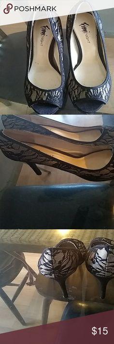 Shoes Black lace heels size 10 FIONI Clothing Shoes Heels