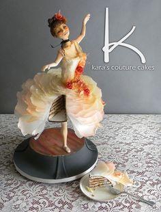 Wafer Paper Ballerina Cake Anti Gravity Cake, Gravity Defying Cake, Ballet Cakes, Ballerina Cakes, Fondant Cakes, Cupcake Cakes, Dancer Cake, Cake Structure, Funny Cake
