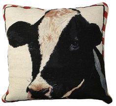 Holstein Cow Needlepoint Pillow