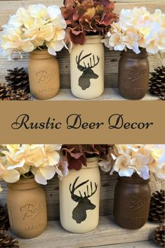 Deer Decor,Gift,Rustic Home Decor, Christmas Gift, Cabin Decor, Painted Mason Jars, Mantle Decor,Outdoorsy, Rustic Lodge Decor, Brown, Cream. This is gorgeous! #affiliate