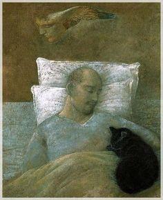Toshiyuki Enoki: portrait of a sleeping man with cat. Figure Painting, Painting & Drawing, Sleeping Man, Culture Art, Art Asiatique, Art Japonais, Art Et Illustration, Japanese Painting, Japanese Artists