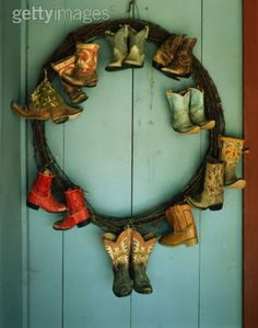 cowboy boots. Much bigger frame with all different small colored ones and have the photographer or guests take pictures of each other and other guests in just by holding it up at your wedding!! Thought this might be que cute for your wedding @Amy Lyons Boardman!