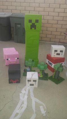 Minecraft decor.....all made from boxes and tissue paper (except centerpieces)