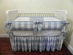 Custom Baby Bedding Set Anderson -  Boy Baby Bedding, Blue Plaid Crib Bedding, Buffalo Check Baby Bedding