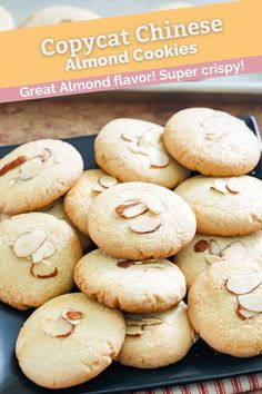 You can make the best buttery Chinese Almond Cookies that are just like the ones you enjoy at restaurants. Get the easy recipe with video and bake them for Chinese New Year or anytime you crave these tasty cookies. Perfect for shipping as gifts because they don't crumble like other cookies. #cookies #cookierecipes #giftideas #chinesefood #almondcookies #almond #dessertideas Easy Donut Recipe, Donut Recipes, Cookie Recipes, Dessert Recipes, Almond Meal Cookies, Walnut Cookies, Yummy Cookies, Asian Desserts, Great Desserts