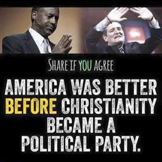 Share if you agree America was better BEFORE Christianity became a political party. Anti Religion, Religion And Politics, Liberal Politics, Political Party, Political Memes, Founding Fathers, Atheism, Christian Faith, Christian Post