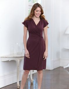 Mock Wrap Jersey Dress in Mulberry by Pepperberry