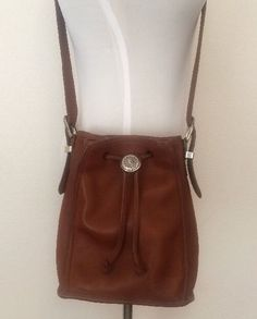 Brighton Leather Cross Body Bucket Bag Purse Silver Brass Buckle Brown #Brighton #MessengerCrossBody