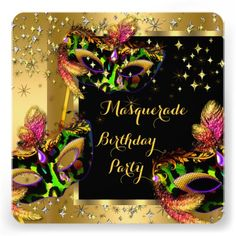Shop Masquerade Masked Lime Pink Gold Birthday Party Invitation created by Zizzago. Masquerade Party Invitations, Masquerade Ball Party, Sweet 16 Masquerade, Halloween Masquerade, Birthday Party Invitations, Sweet Sixteen Invitations, Custom Invitations, Invites, Happy Halloween