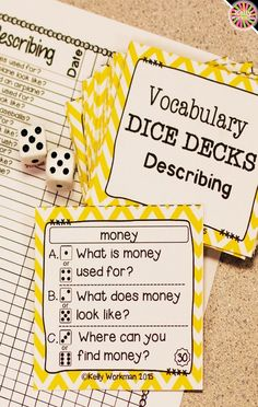 Looking for ideas to increase engagement with your students? DICE DECKS interactive task cards teach specific skills while keeping their attention! Great for individual, small group (speech therapy, RTI, etc.), or even whole-class learning. Click to view this Describing vocabulary set!