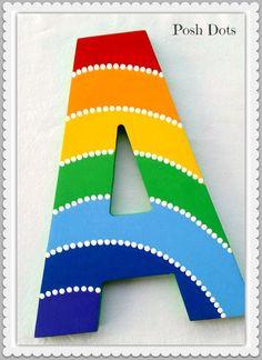 Rainbow Stripes Painted Decorative Wooden Wall Letter by Posh Dots de PoshDots en Etsy https://www.etsy.com/es/listing/252177601/rainbow-stripes-painted-decorative