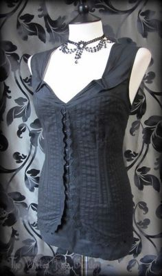 Black Pinstripe Lace Corset Style Top 14 Steampunk Corporate Goth Rockabilly | THE WILTED ROSE GARDEN on eBay // Worldwide Shipping Available