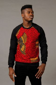 Amazing West African wax cotton sewn unto cotton sweatshirts. Our Sweatshirts are made from the finest cotton and manufactured here in America. Male