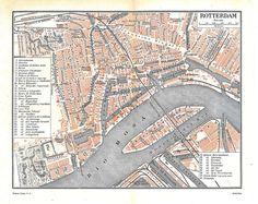 Vintage City Map Rotterdam Netherlands Street Plan1920s op Etsy, 10,66€