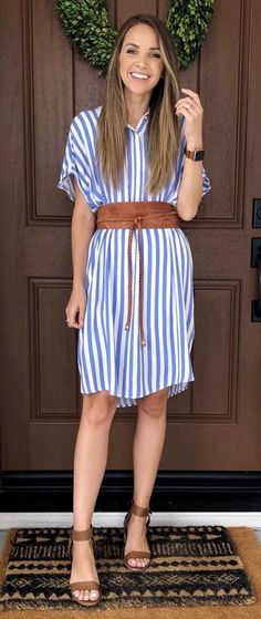 awesome summer outfit / striped dress + wide belt + sandals