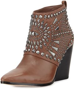 BCBGMAXAZRIA Creed Studded Ankle Boot, Sable/Gunmetal