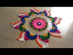 How to make easy and simple/unique peacock rangoli designs by Jyoti Rathod - YouTube