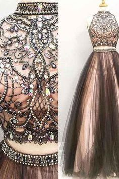 Two Piece A-line Halter High Neck Tulle Beading Prom Dresses PG524 #promdress #eveningdress #dress #pgmdress #2018prom