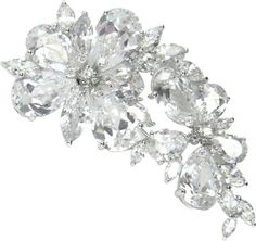 Haute Couture Floral Brooch/Hair Pin Silver. Fine haute couture brooch is the ultimate statement for a wedding gown or lapel, and can also be pinned into the hair for a wedding veil or up-do.