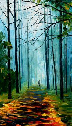 "Bosque de verano — espátula verde paisaje pared arte pintura al óleo sobre lienzo de Leonid Afremov. Tamaño: 20 ""X 36"" pulgadas (50 cm x 90 cm)"