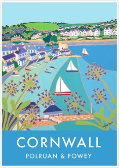 Sailboat Art, Vintage Art, Vintage Style, Vintage Inspired, Cornwall England, Fowey Cornwall, Travel Tours, Travel Ideas, Coastal Art