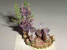 Miniature Vanity Tray, Perfumes, Floral Arrangement - OOAK Lavender Purple Bedroom Accessories